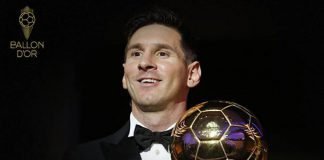 Leo Messi al recibir su sexto Balón de Oro. Foto. France Football.