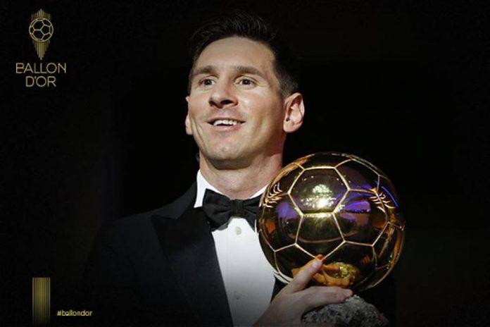 Leo Messi al recibir su sexto Balón de Oro. Foto. France Football.