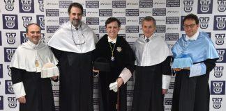 Pablo López Raso, Gabriele Finaldi, Daniel Sada, Neil MacGregor y Fernando Viñado en la UFV.