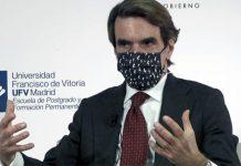 Aznar, durante su charla en la UFV. Foto: M21
